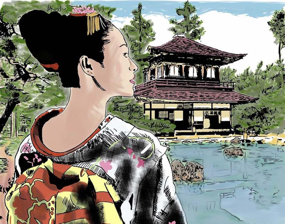 Une geisha montant l'importance du plancher pelvien
